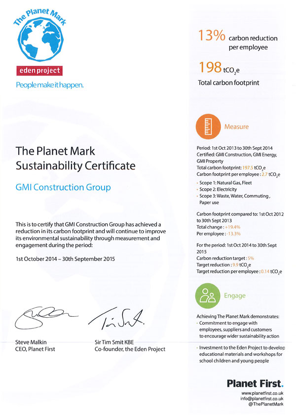 The Planet Mark Sustainability Certificate